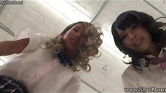 Japanese Schoolgirls Trample Slave Face