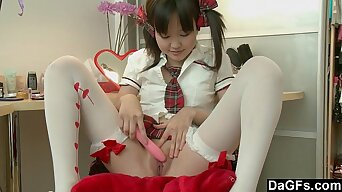 Little Pigtailed Asian Puts Her College Clothes And Masturbates On A Chair